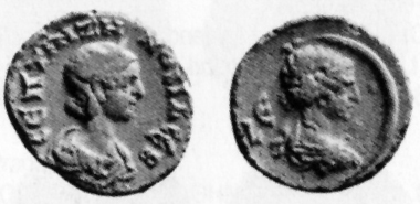 Zenobia. Tetradrachmon, 272. Rev. bust of Selene in moon crescent. BMC 2398. Münzhandlung Basel 6 (1936), 1281.