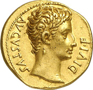 Nr. 71. Old Sable Collection. Augustus, 27 B. C.-A. D. 14. Aureus, 14-12, Lugdunum. RIC 164a. From auction sale NAC 64 (2012), 1063. Very rare. Extremely fine. Estimate: 25,000 euros. End result: 57,500 euros.