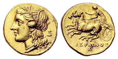22: Syracuse. Hieron II, 275-215 BCE. Dekadrachm, gold, 275-263 BCE. Extremely fine. Estimated: 4,200 euros.