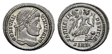 250: Constantinus I the Great, 307-337. Nummus, Sirmium. 324-325. RIC 475,48. Extremely fine. Estimate: 75 euros.