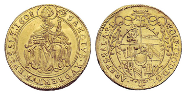 764: SALZBURG, ARCHDIOCESE. WOLF DIETRICH VON RAITENAU, 1587-1612. Double ducat 1608. Fr. 555. Extremely fine-FDC. Estimate: 3,000 euros.