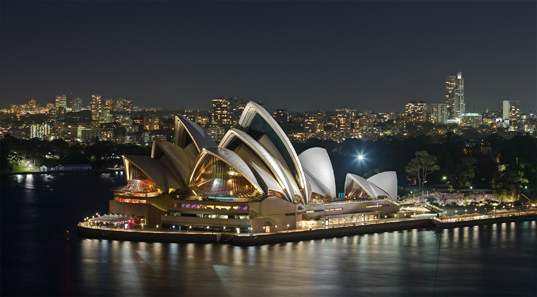 Sydney Opera House, as viewed from the Sydney Harbour Bridge. Photo: David Iliff / CC-BY-SA 3.0.
