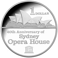2013 40th anniversary of the Sydney Opera House Silver Proof $1 Coin Reverse (left) and Uncirculated $1 Coin Reverse (right).