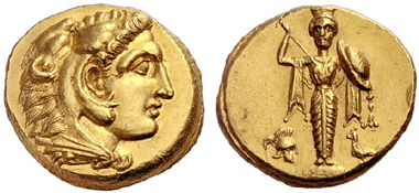 172 Pergamon (Mysia). Herakles, Son of Alexanders the Great, d. 309(?). Gold stater, prior to 309. Extremely fine specimen. Estimate: 40,000 Euros. Price realized: 46,000 Euros.