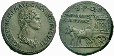 347 Agrippina Maior. Sestertius. RIC 55. Extremely fine. Estimate: 2,500 Euros. Price realized: 8,500 Euros.