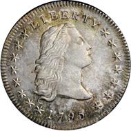 33498: 1795 $1 Flowing Hair, Three Leaves MS65 NGC. CAC. B-5, BB-27, R.1.