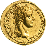 528: Römische Kaiserzeit. Tiberius. Aureus, 18-35, Lugdunum. Kampmann 5.1. vz. Taxe: 5.000 Euro.