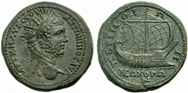 455 Perinthos (Thrace). Caracalla. Bronze medallion. Rev. battle ship. Very rare. Estimate: 4,000 Euros. Price realized: 21,000 Euros.