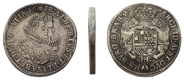 Lot 84. Southern Netherlandish, Silver Dukaton struck on double weight 1618, Albert and Isabella, Duchy of Brabant. Delm. 248a (R2). VF. 4,125 euros.