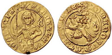 609 Holy Roman Empire. Wenceslas IV of Bohemia (1378-1419), Auerbach. Gold gulden. Extremely rare. About extremely fine. Estimate: 10,000 Euros. Price realized: 38,000 Euros.