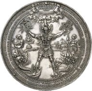 Hamburg. Silver medal from 1636 by Sebastian Dadler. 79 mm; 127.11 g. Gaed. 1553. Maué 39. Very rare. Extremely fine to FDC. From auction sale Künker 242 (20th November 2013), nr. 3527. Estimate: 20,000 euros.