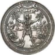 Hamburg. Silberne Medaille 1636 von Sebastian Dadler. 79 mm; 127,11 g. Gaed. 1553. Maué 39. Sehr selten. Vorzüglich bis Stempelglanz. Aus Auktion Künker 242 (20. November 2013), Nr. 3527. Schätzung: 20.000 Euro.