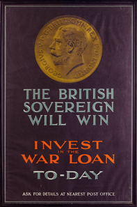 The Sovereign war poster invest in the war loan.