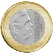 The national side of the new Dutch 1 and 2 Euro coins.