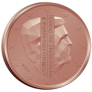 The national side of the new Dutch 2 and 1 eurocent coins which will not circulate and be available only to collectors.