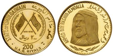 Los 1635: UMM AL QAIWAIN (United Arab Emirates), 1970 Set von 4 Silber- und 3 Goldmünzen, 1-2-5-10-50-100-200 Riyals. In gelber Originalschatulle mit Zertifikat, Kleinstauflagen 230-420 Ex., je PP. Zuschlag: 6.400 Euro, Ausruf: 1.200 Euro.