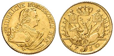 Los 445: PREUSSEN, Friedrich II. der Große, 1740-86, doppelter Friedrichs d'or 1750 A, Berlin. Fried. 2378. ss. Zuschlag: 4.200 Euro, Ausruf: 3.600 Euro.