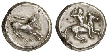 Los 7: SICILIA, Gela, AR-Tetradrachme, ca. 490-475 v.u.Z. Jenkins 101. vz. Zuschlag: 3.700 Euro, Ausruf: 1.000 Euro.