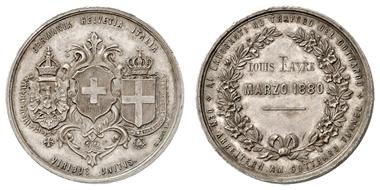 Los 2214: SCHWEIZ, Silbermedaille 1880, von Bovy, auf den Durchstich des St. Gotthard-Tunnels. Moyaux 285. ss-vz. Zuschlag: 240 Euro, Ausruf: 80 Euro.