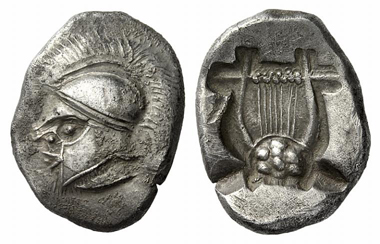 97: Thraco-Macedonian tribes. Uncertain mint. Double siglos, c. 500 B. C. Extremely rare. Extremely fine. Estimate: 40,000 euros. Starting price: 24,000 euros.