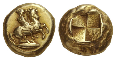 137: Cyzicus. El-stater, 460-400. Rare. Very fine. Estimate: 25,000 euros. Starting price: 15,000 euros.