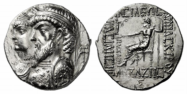 213: Elymais. Kamnaskires III and Anzaze, c. 82-74. Tetradrachm, Seleukeia at Hedyphon River. Very rare. Splendid specimen. Estimate: 20,000 euros. Starting price: 12,000 euros.