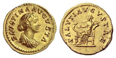 328: Faustina II., + 176. Aureus, 161-164. Stempelglanz. Slg. E. Beckenbauer. Bankhaus Aufhäuser 5 (1988), 317. Schätzung: 15.000 Euro. Ausruf: 9.000 Euro.