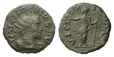 357: Proculus, 280-281. Antoninian, c. 280-281, uncertain mint in Gaul or Britannia. Second specimen known to exist. Extremely fine. With export-licence of Arts Council England no. PAU/00206/13. Estimate: 50,000 euros. Starting price: 30,000 euros.