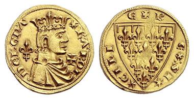 759: Italy. Kingdom of Sicily. Charles I of Anjou. Reale d'oro, Barletta. Extremely rare. Extremely fine. Grigoli 4 (1990), 569. Estimate: 25,000 euros. Starting price: 15,000 euros.