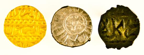 Mamluk coins from the Richard E. Undeland Collection at Princeton University: Al-Zahir Abu Sa'id Jaqmaq, Sultan of Egypt AH 842-57 (CE 1438-53): gold dinar, Cairo mint; silver dirham, Damasus mint; bronze fals (no mint).