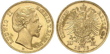 German Empire. Bavaria. Ludwig II. 10 mark 1873. Photo: Künker.