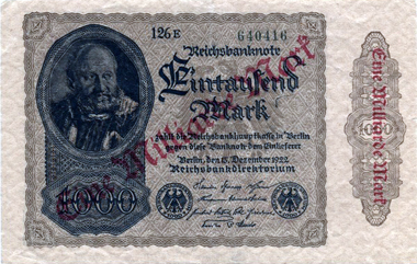 Weimar Republic. 1000 mark 1922 stamped as 1 million mark. Photo: MoneyMuseum.