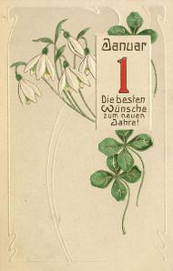 Postkarte mit Glückwünschen zum neuen Jahr und Kleeblatt, um 1900. Quelle: Wikicommons.