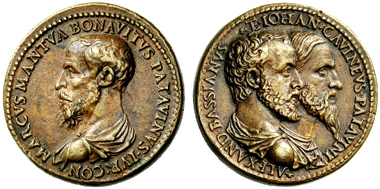 Medal by Giovanni da Cavino. Rev. Busts of Alexander Bassianus (in the front) and of Giovanni da Cavino (behind) r. NAC 53 (2009), 569.