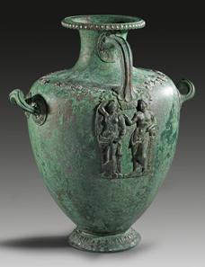 36: Bronze hydria. Greek, 4th cent. B. C. H 47.5 cm. Estimate: 175,000 euros.