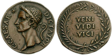 Coin invented by Cavino that pretends to be minted by C. Julius Caesar. From CNG 132 (2006), 286.