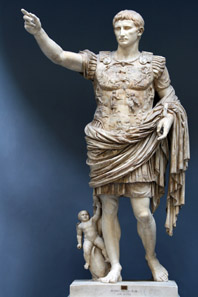 The imagery of the so-called Augustus of Primaporta recalls the recovery of the lost battle standards and commemorates the triumphant peacemaking ruler. Vatican Museums, Rome. Photo: Till Niermann. http://creativecommons.org/licenses/by-sa/3.0/deed.en