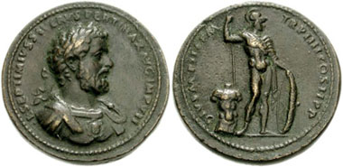 Imitation by Cavino of a sestertius of Septimius Severus. The depiction of Mars on its reverse is not comparable with a product of a Roman mint in regard to its perception of the body. From CNG 132 (2006), 306.