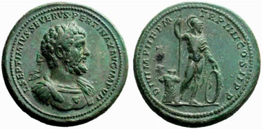 Medallion of Septimius Severus with a depiction of Mars. From NAC 29 (2005), 569.