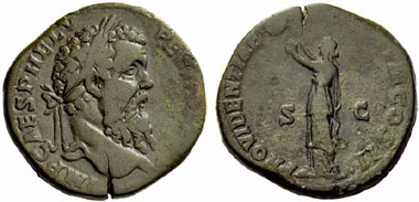 Model for Cavino's imitation: sestertius of Pertinax. From NAC 54 (2010), 1197.