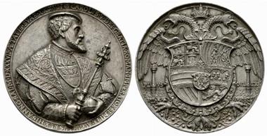 2293: Karl V. Silbergussmedaille. 1537. Slg. Lama 598. vzgl. Rufpreis: 3.000 Euro.