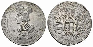 2560: Ferdinand I. Doppeltaler, 1532, Klagenfurt. Markl -. fast vzgl. Rufpreis: 18.000 Euro.