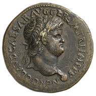 Römische Kaiserzeit. Nero (54-68). Sesterz, Lugdunum, um 65. Büste des Nero mit Lorbeerkranz n. r. Rs. Tempel des Ianus mit geschlossener Pforte, darum die Umschrift (in Übersetzung)