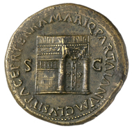 Roman Imperial Era. Nero (54-68). Sestertius, Lugdunum, around 65. Bust of Nero with laurel wreath facing right. Rev. Temple of Janus with closed gates, and around it the inscription (in translation) 'Peace on land and at sea. He closed the door of Janus.' © MoneyMuseum, Zurich.