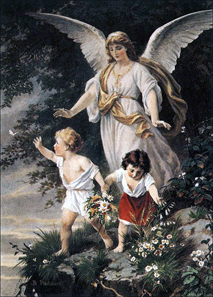 Guardian angel. Bernhard Plockhorst (1825-1907). Source: Wikicommons.