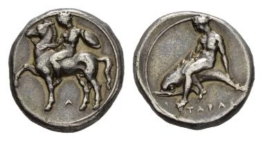 Lot 11: Calabria, Tarentum. Nomos, circa 39-385. Historia Numorum Italy 869. Good very fine.