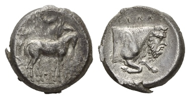 Lot 26: Sicily, Gela. Tetradrachm, 420-415. SNG Lockett 770 (these dies). About extremely fine.