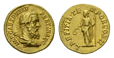 Lot 107: Roman Empire. Pertinax. Aureus, 193. RIC 4b. Area of weakness on obverse, otherwise extremely fine.