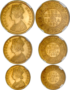 BRITISH INDIA: Victoria, Empress, 1876-1901, 3 coin set, 1879(b). Estimate: $50,000-60,000.
