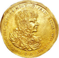 30092: Saxe-Altenburg. Duke Friedrich Wilhelm III gold 10 Ducats 1672. Fr-2913. Estimate: $50,000-$75,000.
